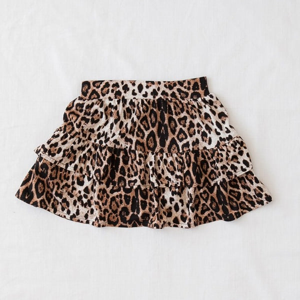 US stockist of Karibou Kids free & wild leopard print ruffle skirt.