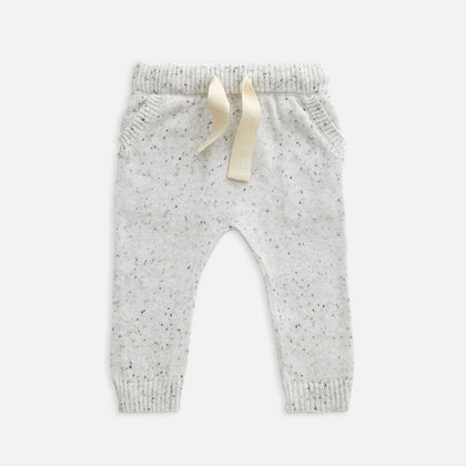 US stockist of Miann & Co's baby knit pants in speckled grey marle. Made from 100% cotton with elastic waist, functional drawstring and pockets.