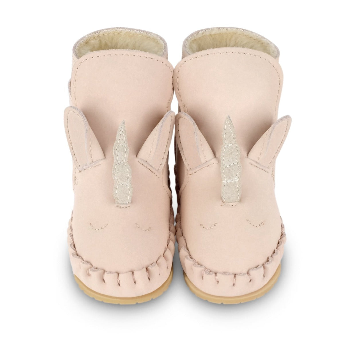 US stockist of Donsje's pale pink leather unicorn baby shoes with Kapi exclusive faux fur lining.  Velcro fastening - soft sole under 12mths.