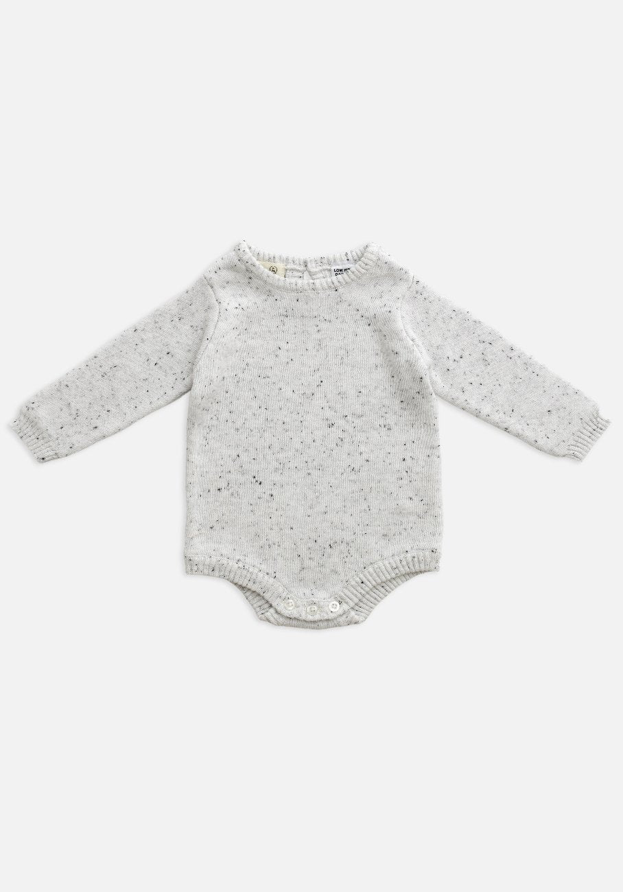 US stockist of Miann & Co's long sleeve romper in grey marle. Made from 100% cotton and gender neutral.