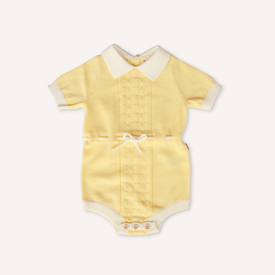 US stockist of this beautiful retro inspired Lacey Lane lemon playsuit.  Pale yellow with contrasting white trim details and collar and sweet knit pattern on the front.  Functional white drawstring at waist.