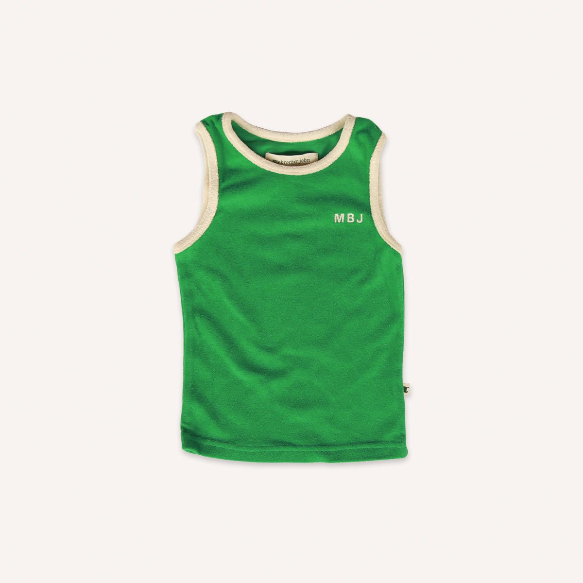 US stockist of My Brother John's emerald green terry towelling tank top.