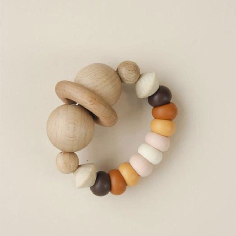 US stockist of Little Chew silicone + wood smiley brown teether