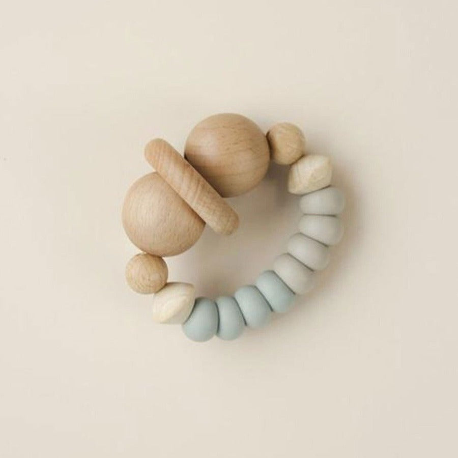 US stockist of Little Chew silicone + wood smiley taupe/ice teether