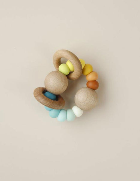 US stockist of Little Chew festive mocha silicone wood ring teether