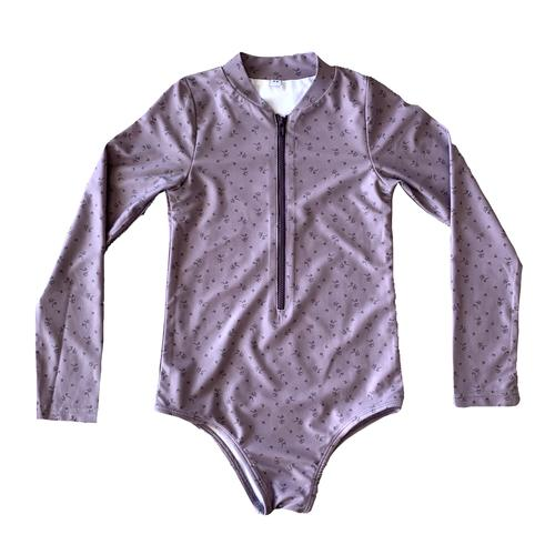 US stockist of Ruffets & Co's Maggie slim fit Floral long sleeve rashsuit. Gorgeous plum fabric with small floral print.  Made with UPF 50 + fabric, fully lined with front zipper.