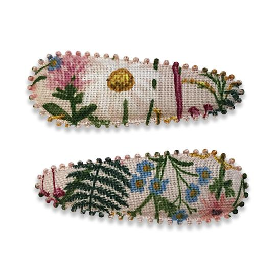 US stockist of Josie Joan's Mei Lin pale pink fabric hair slide clips with floral print.