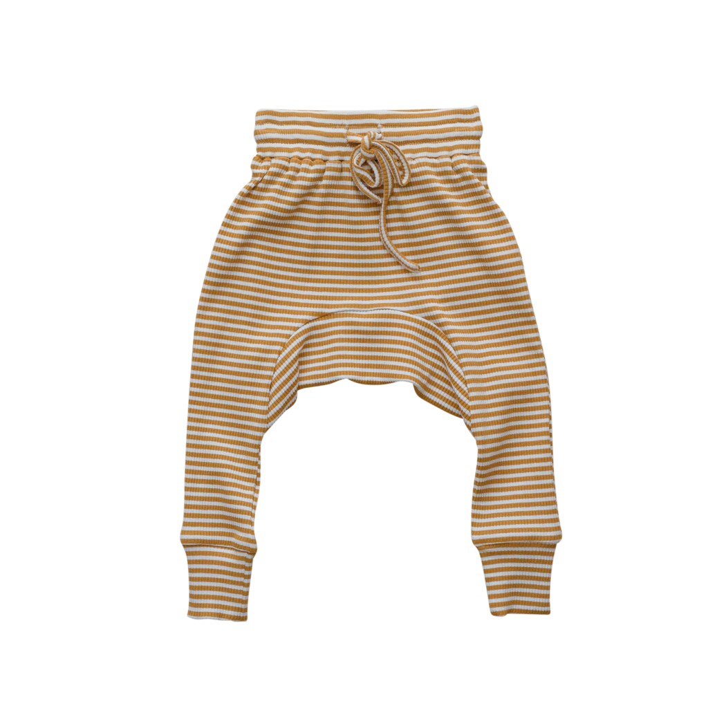 US stockist of Two Darlings gender neutral, mustard stripe rib cotton stretch harem jogger pants