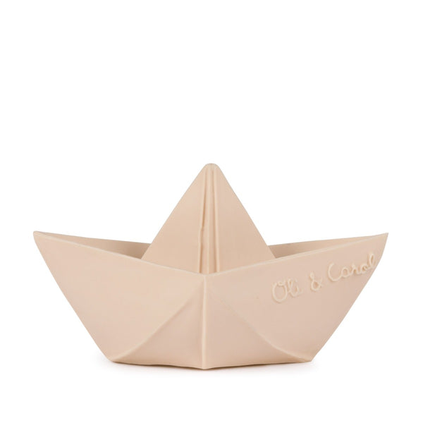 US stockist of Oli & Carol's natural rubber nude origami boat bath toy.