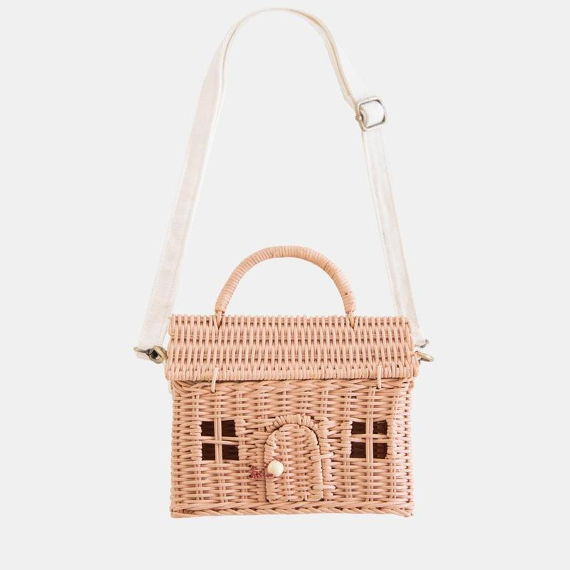 US stockist of Olli Ella's handwoven rattan rose Casa Bag.