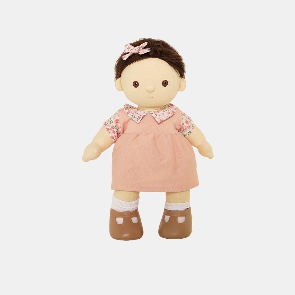 US stockist of Olli Ella's Dinkum Doll Aya Dress Set. Contains pink cotton knit jersey dress with floral custom printed mock collar and sleeves Matching hair-bow.
