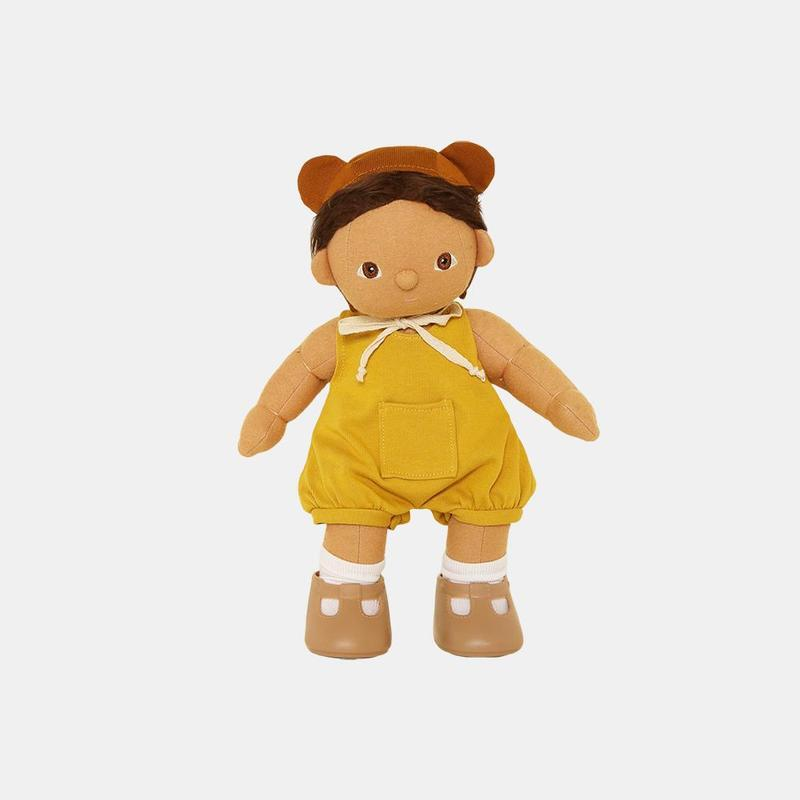 US stockist of Olli Ella's Mio Romper Set.  Contains yellow romper with front pocket and bear bonnet with ears.