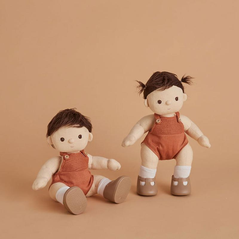 US stockist of gender neutral, brown haired, brown eyed Olli Ella peanut dinkum doll.