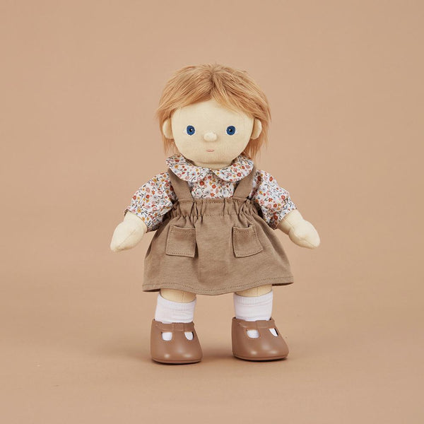 US stockist of Olli Ella's Dinkum Doll Prairie Set.  Features cotton floral collared blouse and biscuit colored suspender skirt with pockets.
