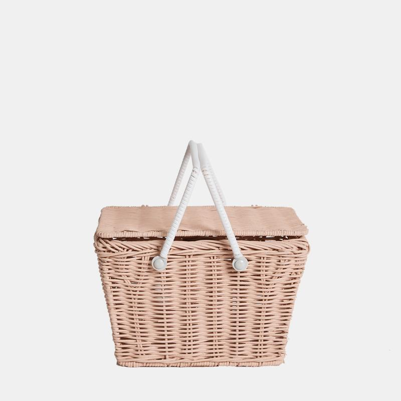 US stockist of Olli Ella handmade rattan rose pink piki basket