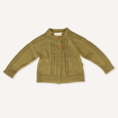 US stockist of Lacey Lane's olive botanica cardigan.  Features 2 coconut buttons and beautiful openwork detailing on the front, back and sleeves.