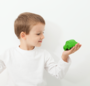 US stockist of Oli & Carol's small green beetle bath toy made from 100% sustainable rubber.  Can also be used as a teether - has no holes, so no mold.
