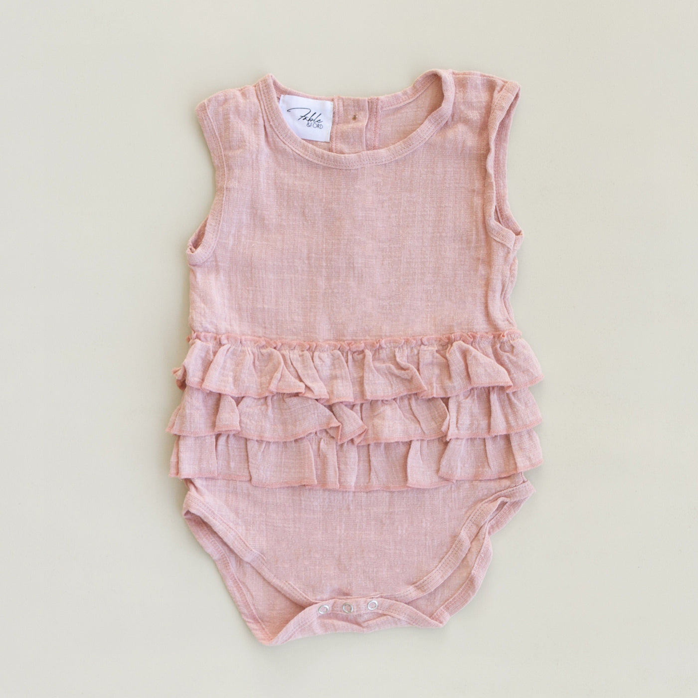 US stockist of Fable & Ford's Lola Linen Ruffle Romper in Dusk