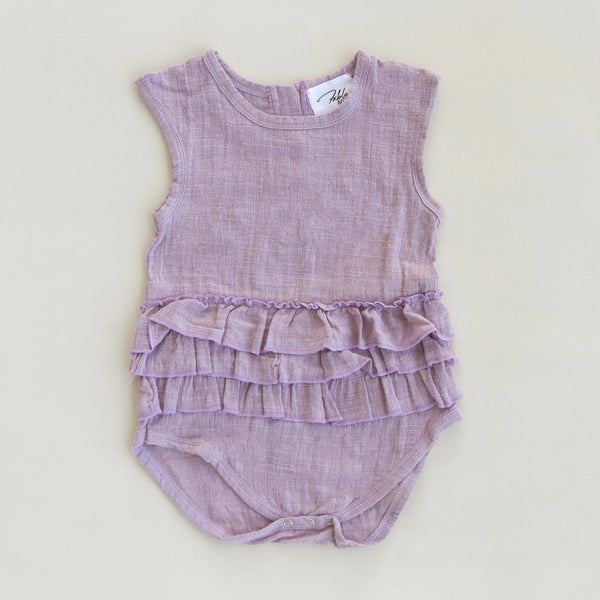 US stockist of Fable & Ford's Lola Linen Ruffle Romper in Lilac Smoke