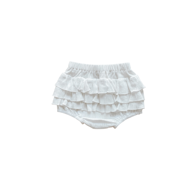 US stockist of Two Darlings coconut pointelle ruffle butt bloomer