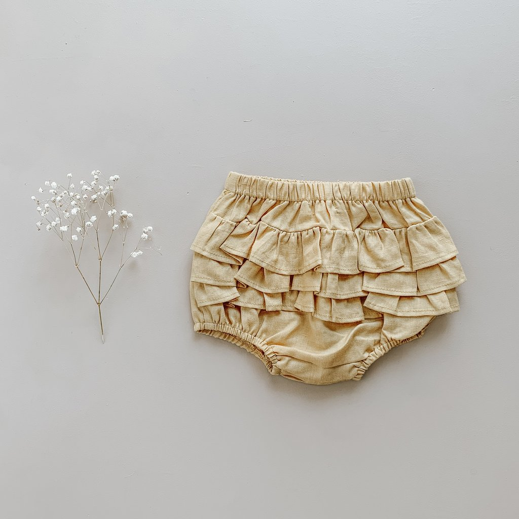 US stockist of Two Darlings golden linen ruffle butt bloomers