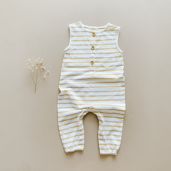 US stockist of Two Darlings golden stripe sleeveless button up romper