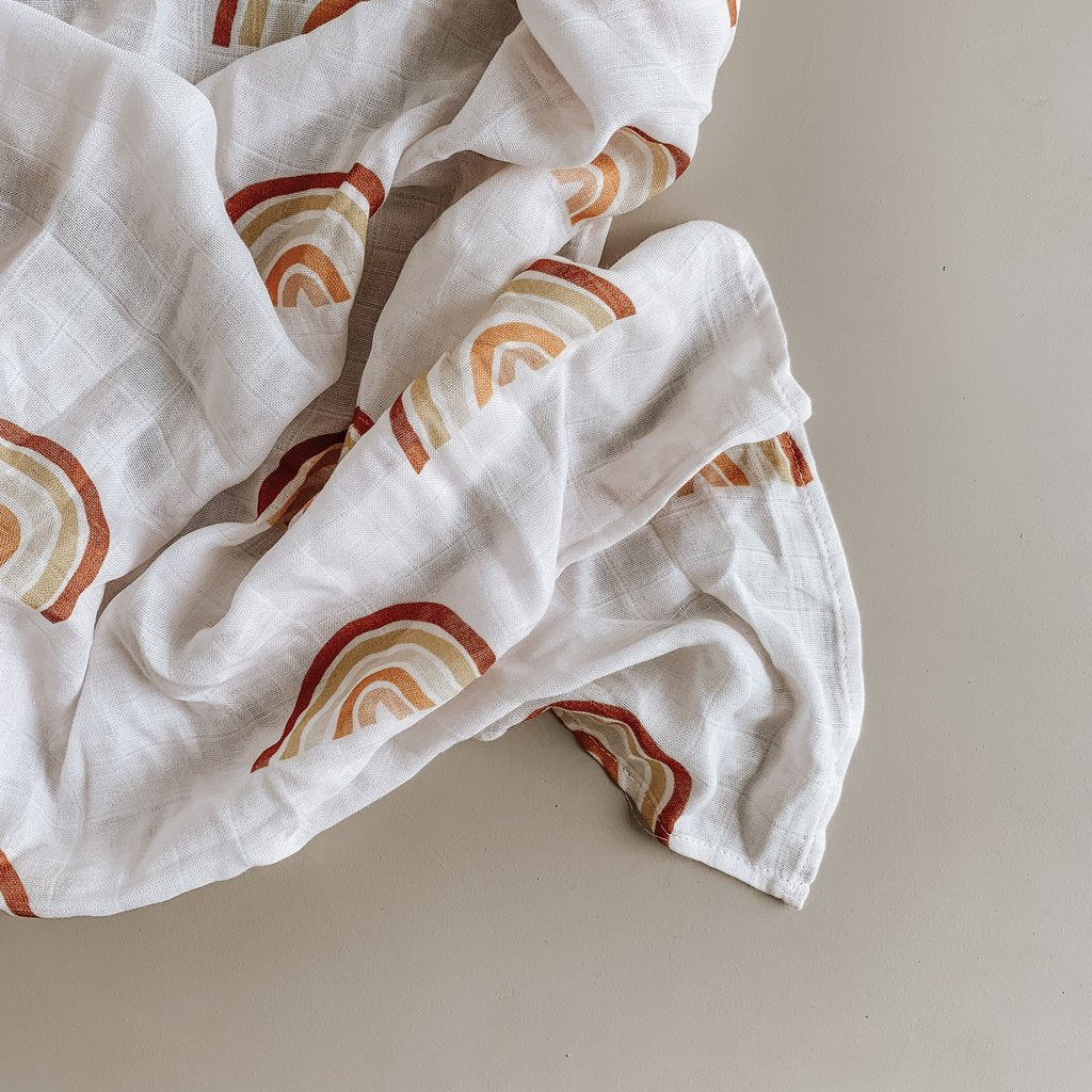 US stockist of Two Darlings bamboo rainbow swaddle.