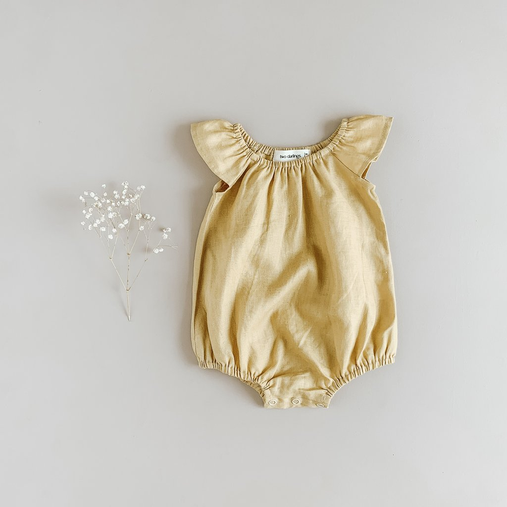 US stockist of Two Darlings Golden Linen Flutter Sleeve Playsuit