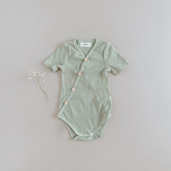 US stockist of Two Darlings short sleeve ribbed cotton olive kimono bodysuit with wooden buttons