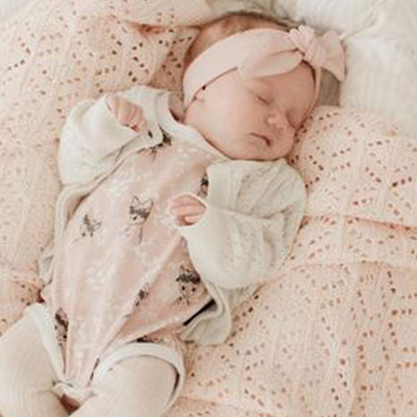 US stockist of Tilly & Otto peonie pink heirloom blanket