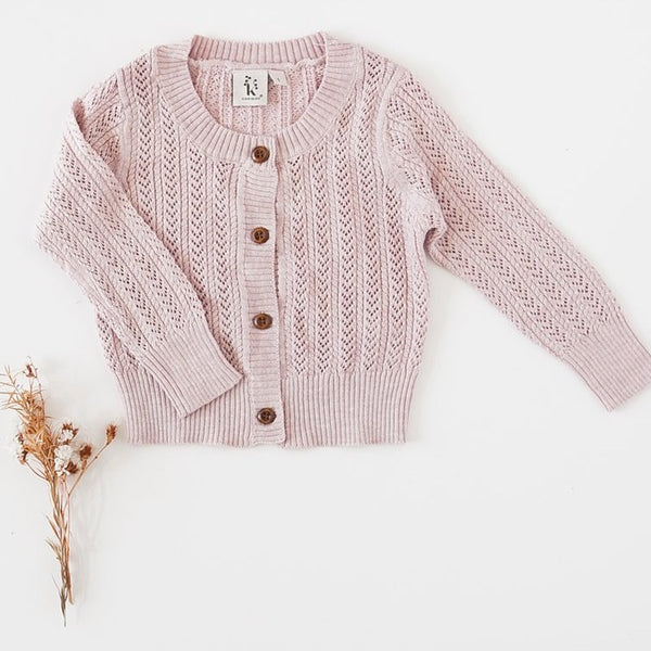 US stockist of Karibou Kids 100% cotton Penny cardigan in Pink Marle.