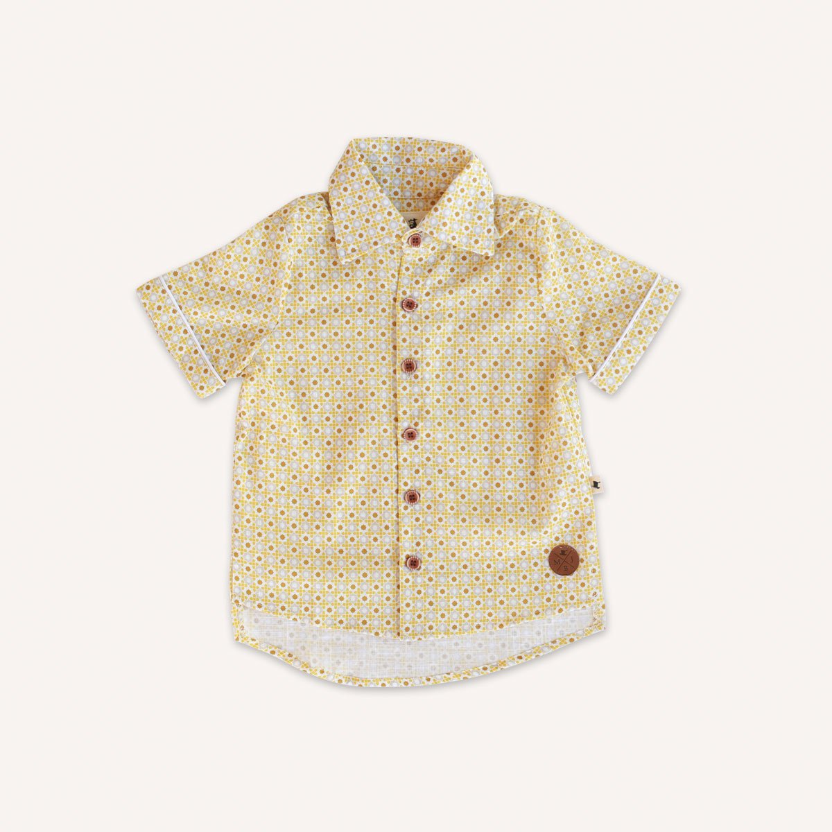 US stockist of short sleeve Quill Oldtimer shirt.  Retro tile print in yellow tones.