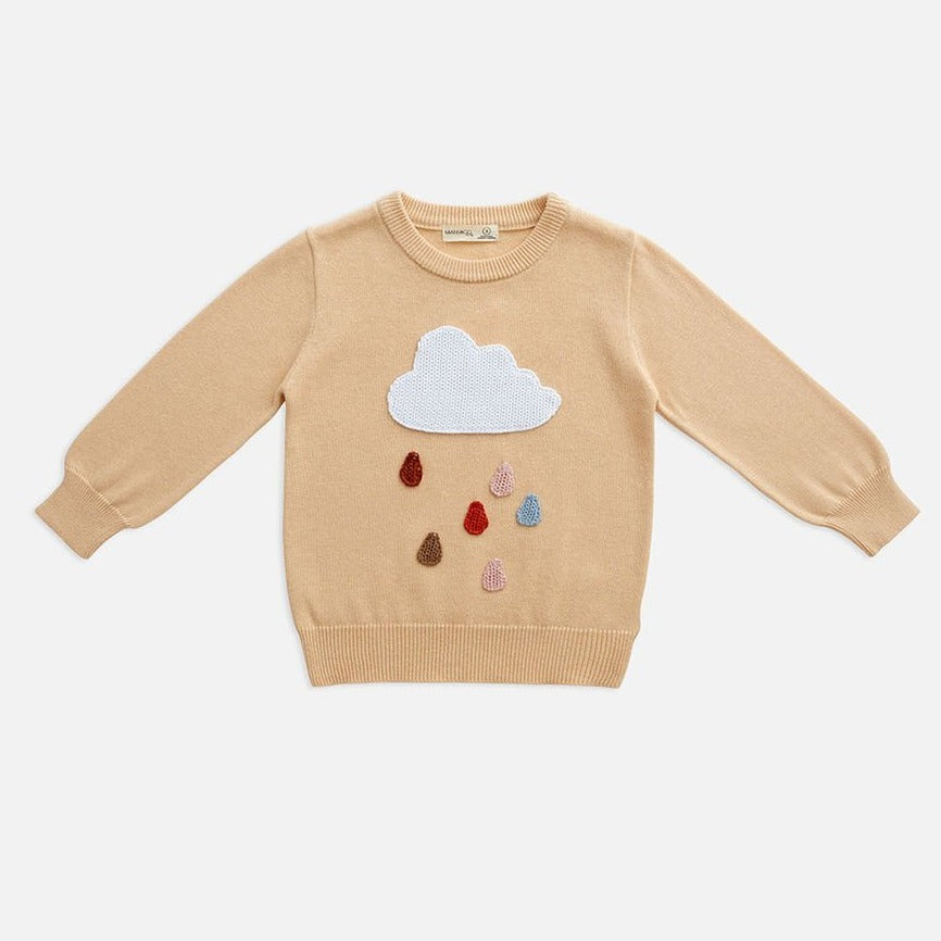 US stockist of Miann & Co's rainy cloud knit sweater. Made from 100% in warm beige with colorful rain drops and white rain cloud.