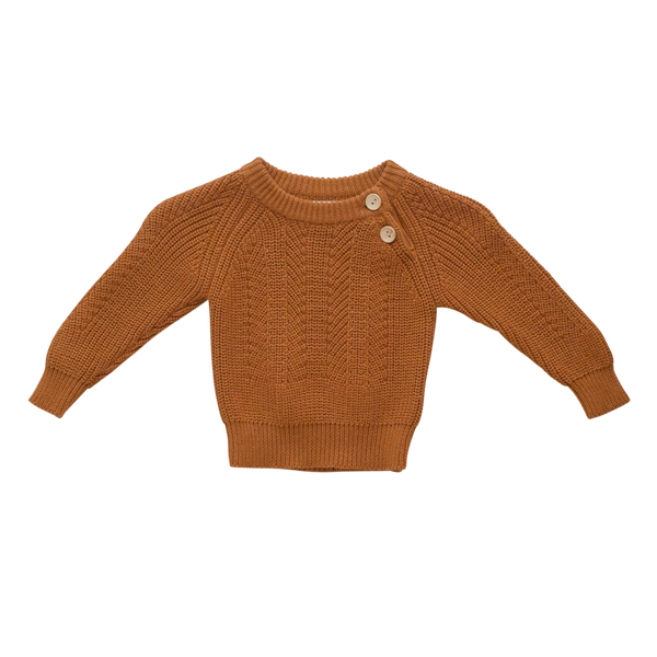 US stockist of Two Darlings gender neutral rust knit sweater.  Made from 100% cotton with two wood like buttons on the left shoulder.  Soft and stretchy.
