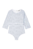 US stockist of Dot Dot Swim's Ice Blue 3/4 Sleeve Sunsuit