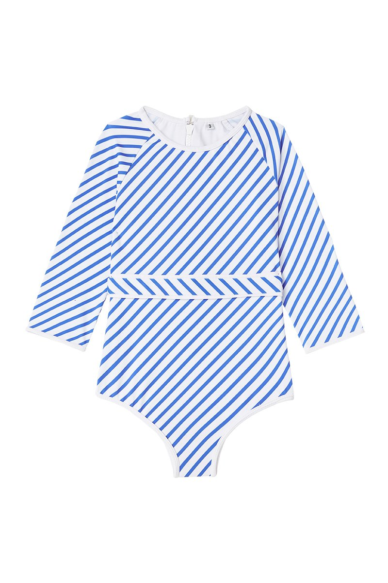 US stockist of Dot Dot Swim's Ocean Stripe 3/4 Sleeve Sunsuit