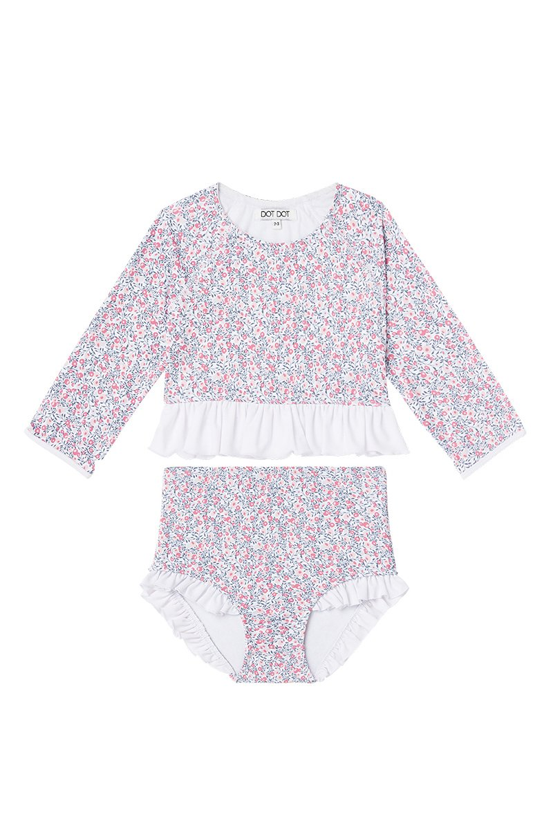 US stockist of Dot Dot Swim's L/Slv 2Pc Ruffle Cherry Blossom Rashsuit
