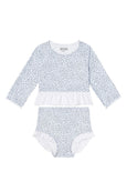 US stockist of Dot Dot Swim's L/Slv 2Pc Ruffle Ice Blue Rashsuit