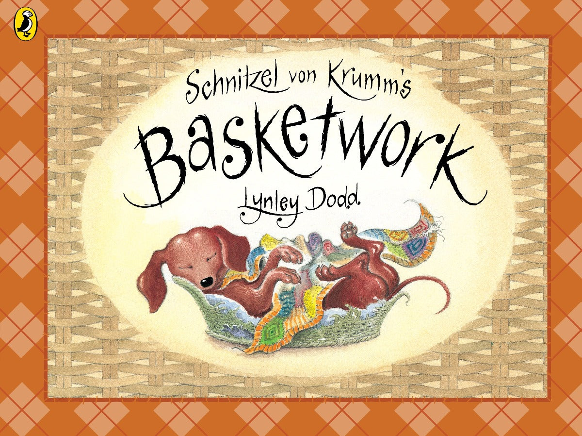 US stockist of Schnitzel Von Krumm's Basketwork paperback book.  Written by New Zealand author; Lynley Dodd.