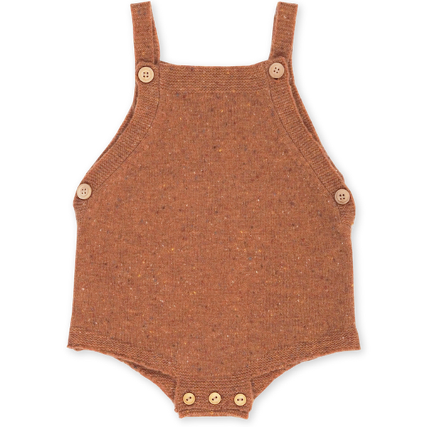 US stockist of Grown Clothing's gender neutral, speckled clay romper.  Made from extra fine Australian merino wool. Features pearl knit detail at edges, adjustable straps and wooden buttons.