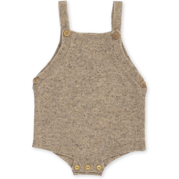 US stockist of Grown Clothing's gender neutral, speckled stone romper.  Made from extra fine Australian merino wool. Features pearl knit detail at edges, adjustable straps and wooden buttons.
