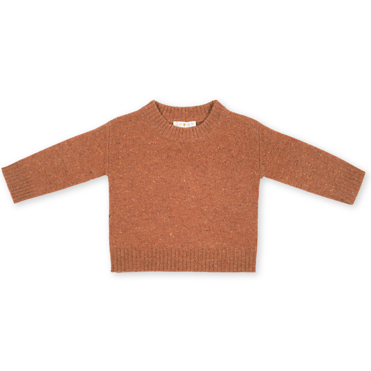 US stockist of Grown Clothing's gender neutral speckled clay sweater.  Made from extra fine Australian merino wool with a dropped shoulder and a rib finish at the neck, hem and cuffs.
