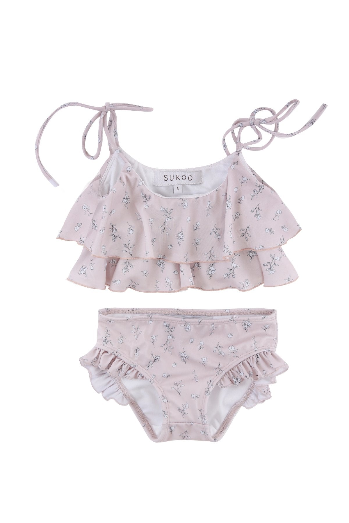 US stockist of Sukoo the Label pale pink Nola ruffle bikini with dainty floral print.