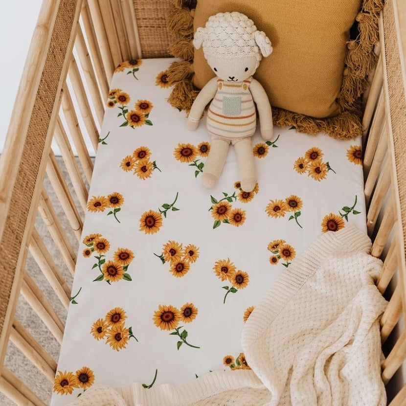US stockist of Snuggle Hunny Kids sunflower crib sheet