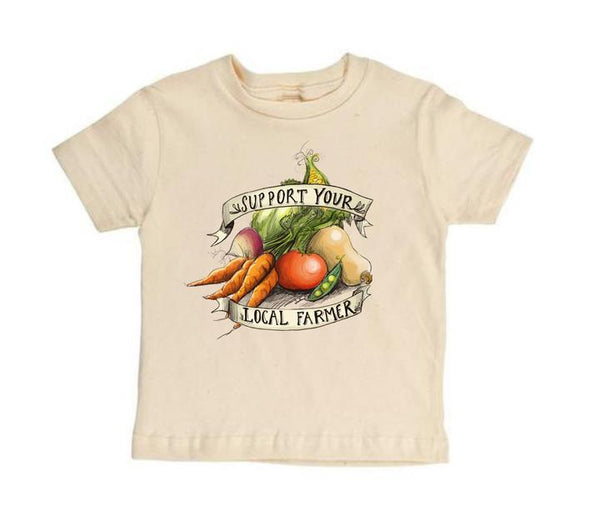 Stockist of Raising Tito Support Your Local Farmer S/Slv Organic Cotton T-Shirt in Cream with Vege Print.