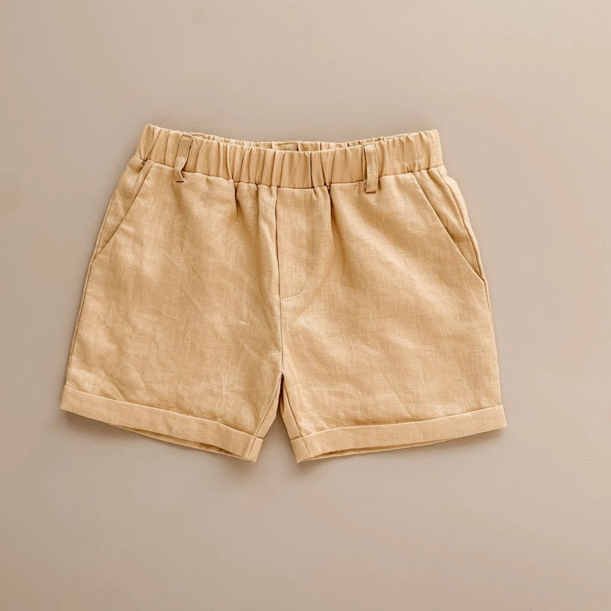 US stockist of Two Darlings golden linen chino shorts