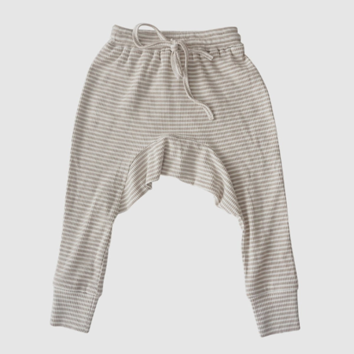 US stockist of Two Darling fawn stripe rib stretch cotton harem pants