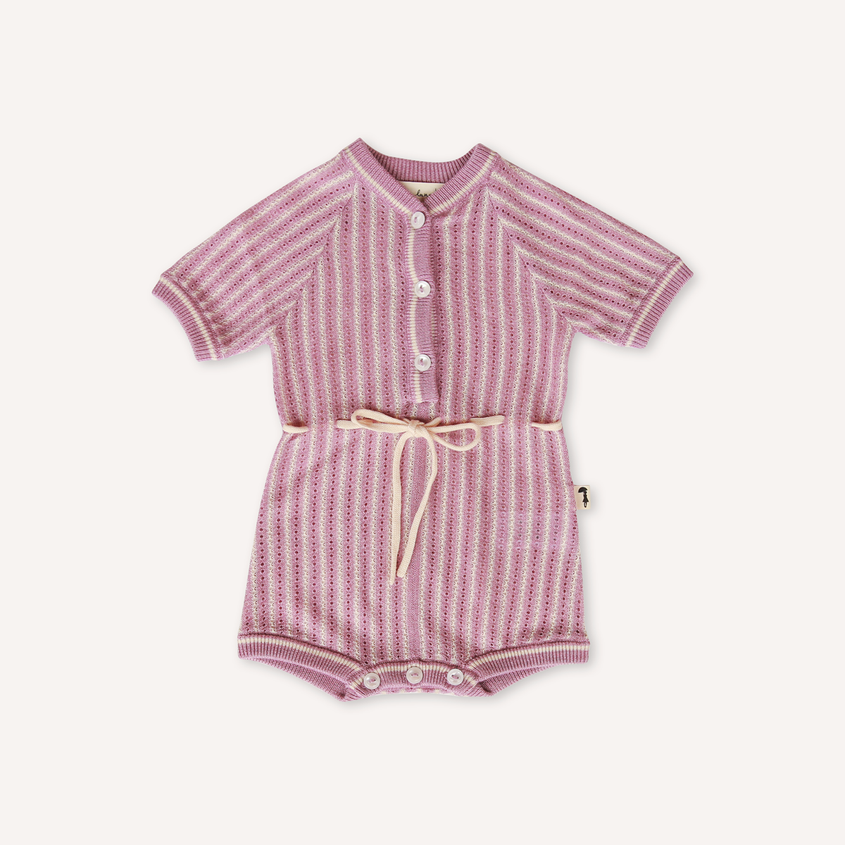 US stockist of Lacey Lane's knit violet romper.  Buttons down chest, with buttons at crotch and functional white drawstring at waist.  Beautiful violet and white stripes.