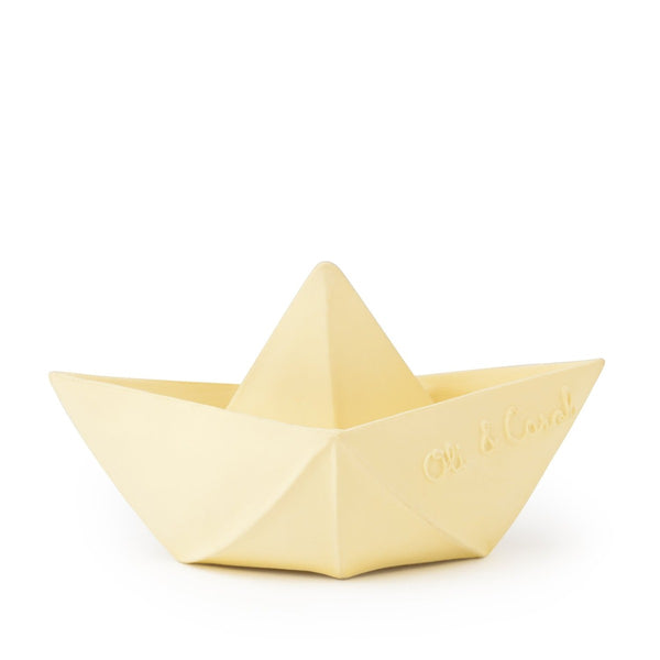 US stockist of Oli & Carol's natural rubber vanilla origami boat bath toy.