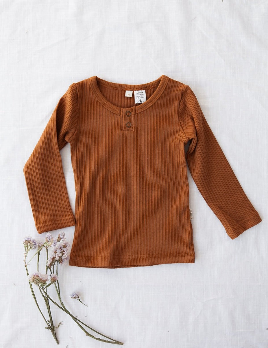 US stockist of Karibou Kids gender neutral, antique gold Willow ribbed long sleeve top
